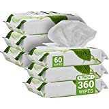 Herb & Luxe Face Wipes, Makeup Remover Facial Cleansing Wipes for Sensitive Skin, 60 Count, Mint (Pack of 6 = 360 Wipes)