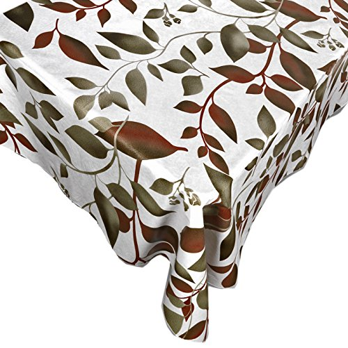 Home Bargains Plus Spring Earthtone Vinyl Flannel Backed Tablecloth, Brown and Green Floral Print Indoor/Outdoor Vinyl Picnic, Barbeque and Kitchen Tablecloth, 52 x 52 Square ()
