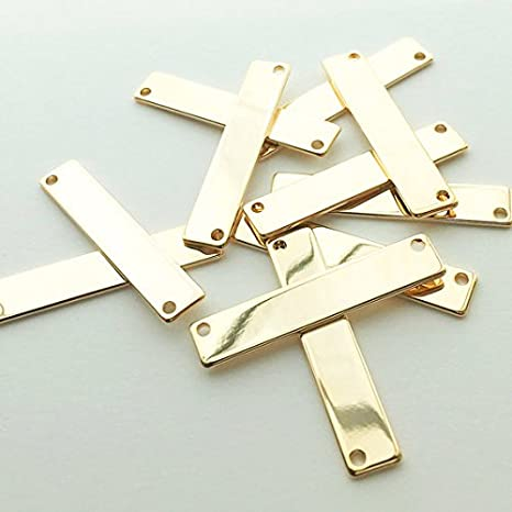 YHYPOCI 10 Pieces Silver Rectangle Stamping Blank Bar Brass Stamping Tag Pendant Blanks Horizontal Pendant Name Plate Jewelry Craft Handicraft DIY Supplies,42.7x11.3mm//1.68x0.44inch