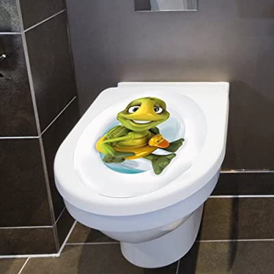 """Wandkings Toilet Lid Decal """"Turtle with Lifesaver""""- 11.8 x 15.7 Inch"""