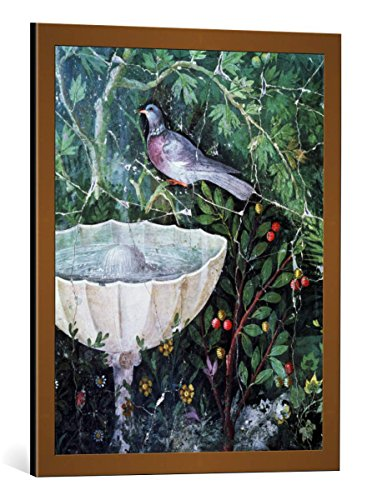 kunst für alle Framed Art Print: Unbekannt Wall Painting Dove Garden Fountain Pompeii 1st Century... - Decorative Fine Art Poster, Picture with Frame, 21.7x27.6 inch / 55x70 cm, Copper Brushed