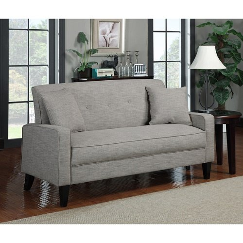 Portfolio Ellie Barley Tan Linen Sofa Include Button Tufted Back Two 18-inch Matching Throw Pillows Stylish Elegant Living Room Finish Dark Espresso