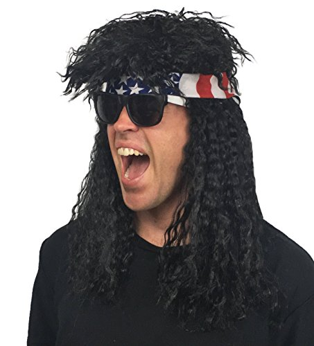 80s Fancy Dress Mens Costumes (4 pc. 80s Rocker Wig Costume Set: 80's Rockstar Costume Wig for Men, Women and Kids Halloween Costume (Black Rockstar 80s Wig + White/Black Sunglassess + USA Bandana))