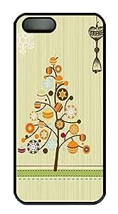 iPhone 5 5S Case Christmas Art Deco Tree PC Custom iPhone 5 5S Case Cover Black