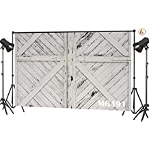 LB Rustic Barn Door Backdrops for Photography 7x5ft Vinyl Vintage White Wood Door Photo Backdrop for Kids Newborn Baby Shower Birthday Party Photo Booth Background