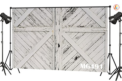 LB Rustic Barn Door Backdrops for Photography 7x5ft Vinyl Vintage White Wood Door Photo Backdrop for Kids Newborn Baby Shower Birthday Party Photo Booth Background (Fence Backdrop)