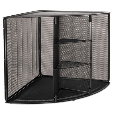 Mesh Corner Desktop Shelf, Five Sections, 20 x 14 x 13, Black, Sold as 1 Each