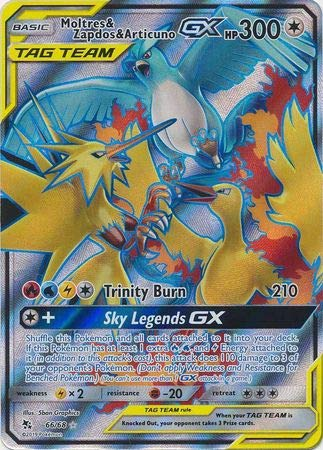 Moltres & Zapdos & Articuno Tag Team GX - 66/68 - Full Art Ultra Rare - Hidden Fates (Card Zapdos Pokemon)