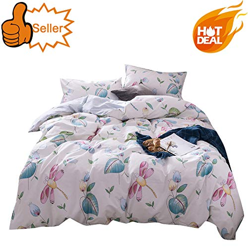 OTOB Cartoon Girls Twin Bedding Sets Teen Children Dragonfly Floral Duvet Cover Set Light Pink Green for Kids Baby Toddler Crib Adults, Cotton Home Textile, Leaves Flower Print Bed Sets, Twin