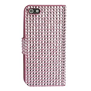 Tonsee(TM) Luxury Shiny Magnificent Bling Diamond Flip Wallet Leather Case Cover for Iphone 5 5s 5th (Pink)
