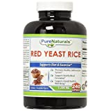 Pure Naturals Red Yeast Rice Dietary Supplement, 1200 Mg, 240 Count -Promotes Healthy Cardiovascular System -Supports Healthy Blood Circulation -Supports overall Health and Well Being