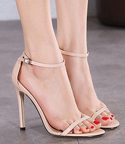 Aisun Donna Classico Semplice Open Toe Con Fibbia Tacchi Alti Dressy Stiletto Tacchi Alti Sandali Scarpe Con Cinturini Alla Caviglia Albicocca