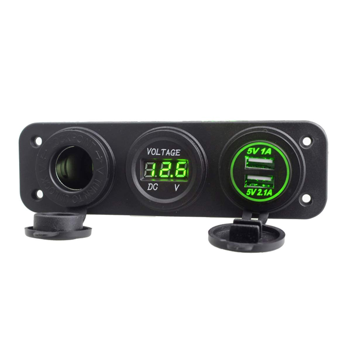 Green 12-24V Dual USB Port Car Charger Power Adaptor Splitter Socket