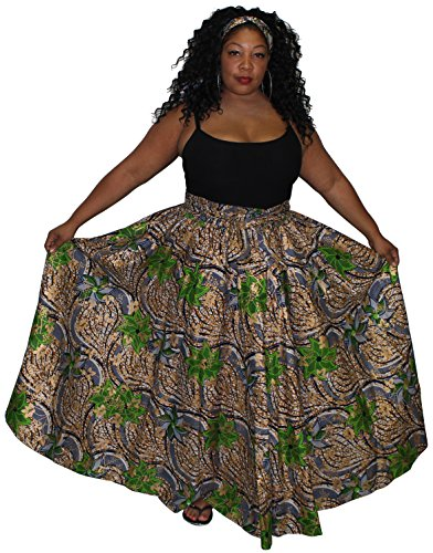 African Planet Women's Wax Elastic Waist Flared Skirt Ankara One Size With Bow Tie (Green Gold - Gold Planet Clothing
