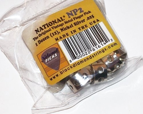 National NP2 12 Pack Vintage Nickel Silver Finger Pick; Banjo,  Dobro, Steel, Guitar, VWWS USA