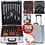 Yaheetech Tool Box Trolley Mechanic Household Toolbox Kit Set Case Cart with 799 Pcs Hand Tools on Casters Wheels for DIY Projects and Daily Repair and Workshop/Garage