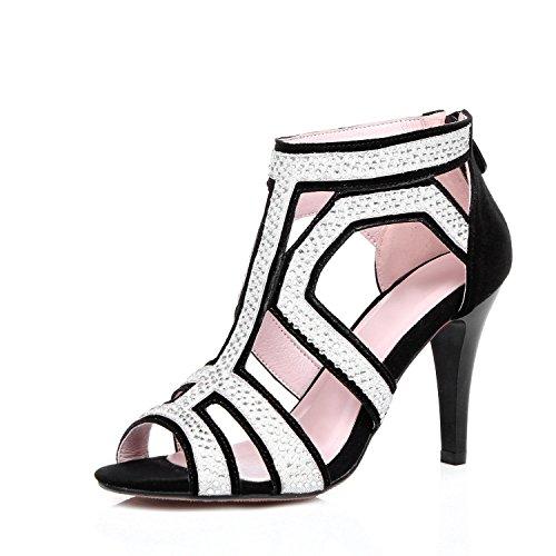 Matte Satin Rhinestone Shoe (Ladies fashion high heel rhinestones/matte/spell color/dress black , black , US8/EU39/UK6/CN39)