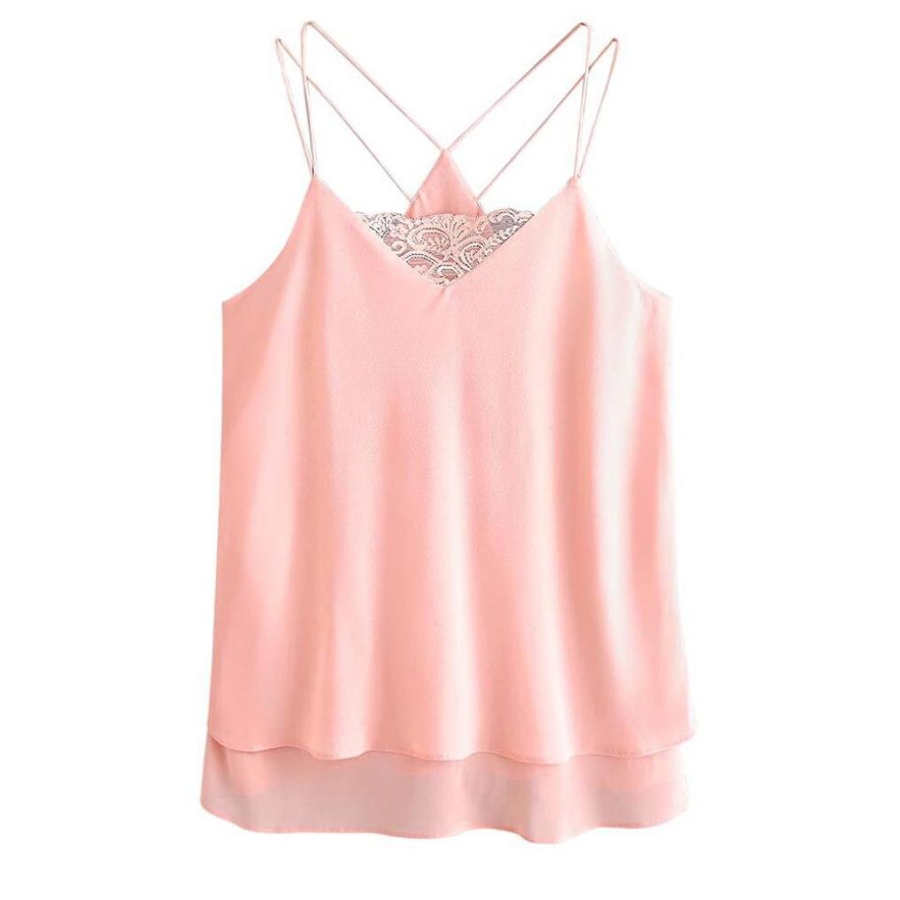 Alixyz Women Solid Color Lace Camisole Blouse Sleeveless Tank Tops Hot Sale Blouse