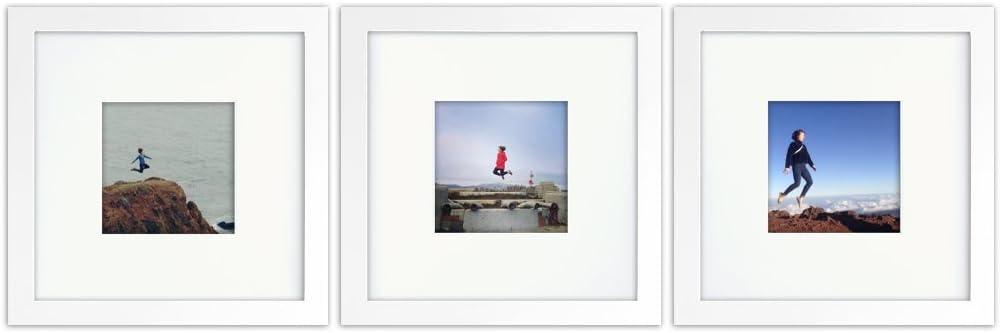 Tiny Mighty Frames 3-Set, Wood, Square, Instagram, Photo Frame, 4x4 (Mat), 8x8 (3, White)