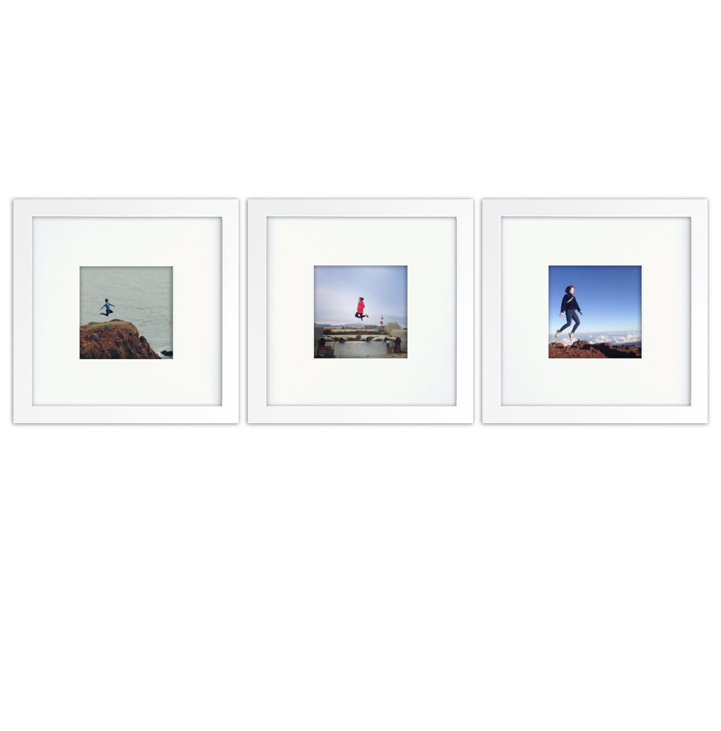 Tiny Mighty Frames 3-Set, Wood, Square, Instagram, Photo Frame, 4x4 (Mat), 8x8 (3, White) by Tiny Mighty Frames