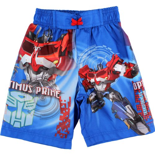 Hasbro Little Boys' Transformers Optimus Prime Swim Trunk, Blue, 2T