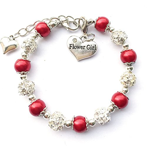 - DOLON Flower Girl Wedding Faux Pearl Charm Bracelet Red