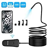 KinCam Wireless Endoscope,5.5mm 2.0 MP 1080P WiFi Borescope Inspection Camera IP67 Waterproof Semi-Rigid Snake Camera with 6 Adjustable LEDs for Android & iOS Smartphones(5m/16.4ft Cable)