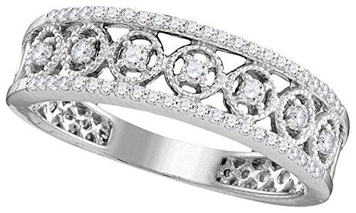 Roy Rose Jewelry 10K White Gold Ladies Diamond Filigree Symmetrical Band Ring 1/4 Carat tw ~ Size ()
