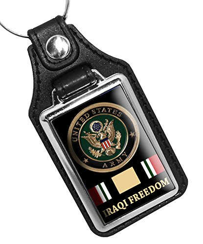 - BrotherhoodKey Rings Faux Leather Key Tag With Iraqi Freedom Army Graphic