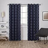 Exclusive Home Curtains Cartago Insulated Woven Blackout Grommet Top Window Curtain Panel Pair, Peacoat Blue, 54x84