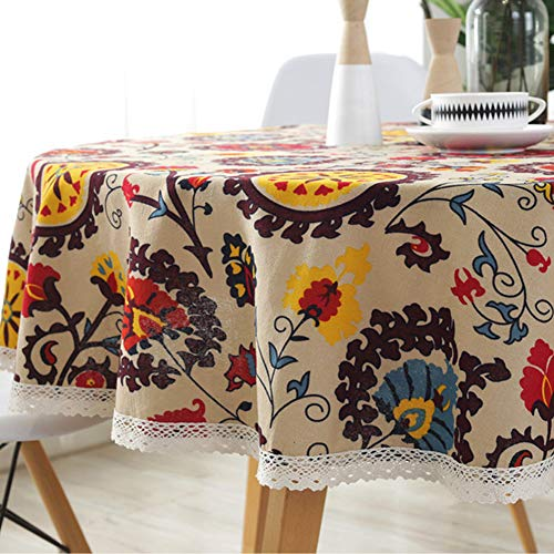 (AMZALI Vintage Bohemian Pattern Decorative Macrame Lace Tablecloth Washable Dinner Picnic Cotton Linen Fabric Decorative Table Top Cover (Round 60 Inch))