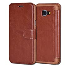 Galaxy A3(2016)Case,Samsung Galaxy A3(2016)Case Wallet Case, Tisuns [Layered Dandy] - [Ultra Slim][Wallet Case] - Leather Flip Cover With Credit Card Slot for Samsung Galaxy A3(2016) Case - SAMSUNG A3100 CASE (Brown)