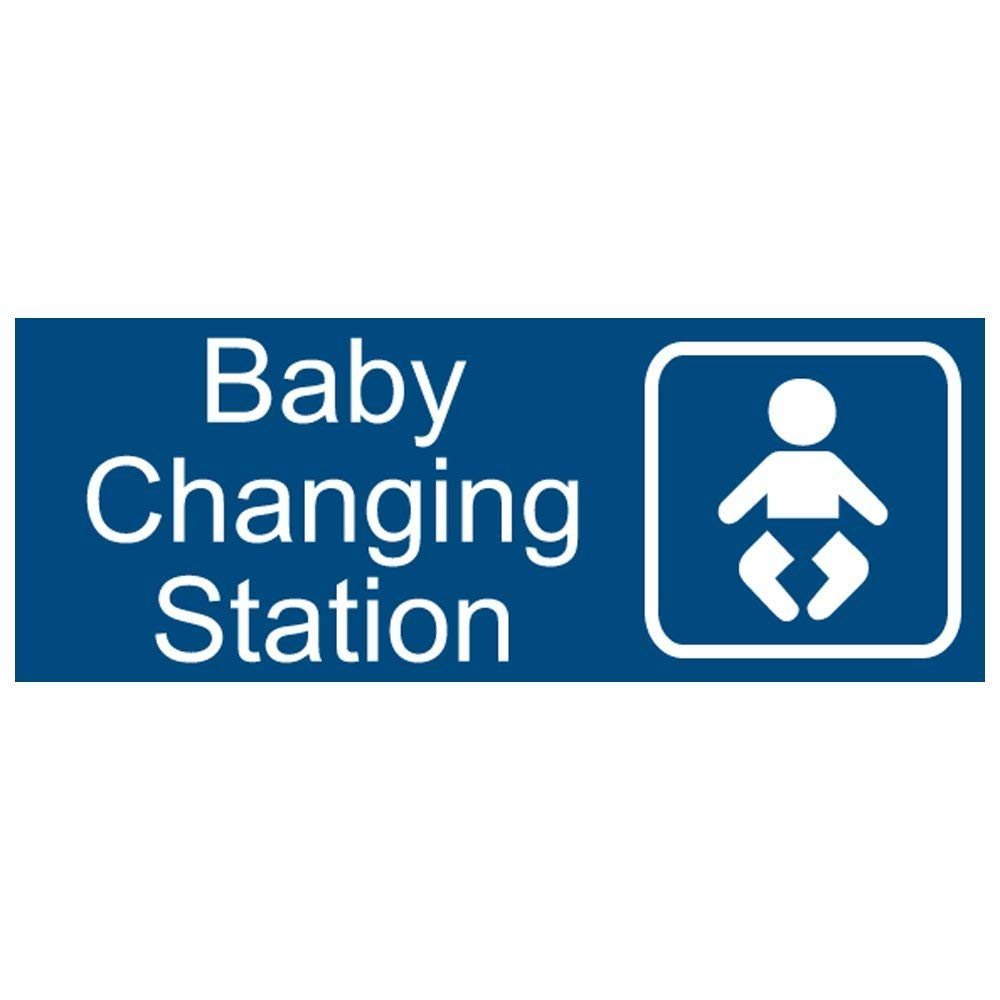New Baby Changing Station Sign 8 x 3 in with English and Symbol Blue for Men Unisex Women