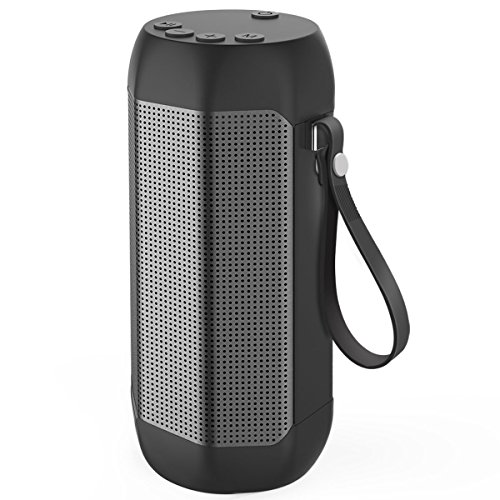 Kissral Portable Bluetooth Speaker, Wireless Speaker Outdoor 12W Enhanced Bass 24 Hours Playing Time with TF Card and FM Radio - Black