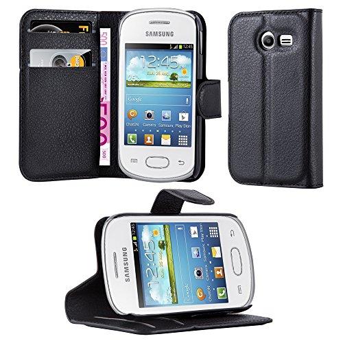 Cadorabo - Funda Samsung Galaxy POCKET 2 (G110H) Book Style de Cuero Sintético en Diseño Libro - Etui Case Cover Carcasa Caja Protección (con función de suporte y tarjetero) en NEGRO-FANTASMA
