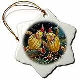 3dRose Sandy Mertens Vintage Halloween Designs - Vintage Halloween Scarecrows Running - 3 inch Snowflake Porcelain Ornament (orn_6046_1)
