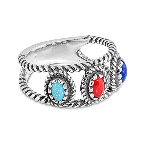 (American West 925 Sterling Silver Blue Turquoise Lapis Red Coral Band Ring- Size 8 - Classics Collection)