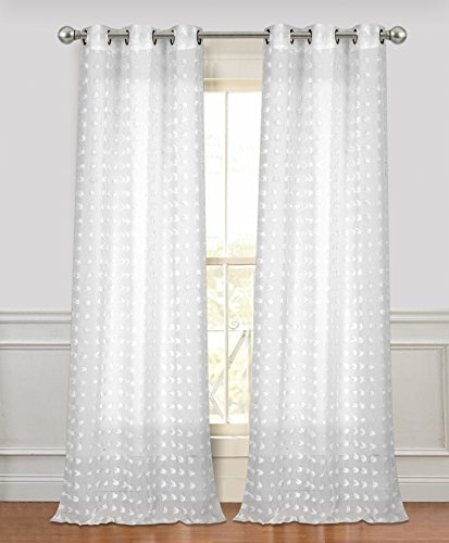 Dainty Home CF7684WH Cut Flower Linen Look Grommet Panel Pair Window Curtain,White,76x84'' (Window Curtain Pair 84' Panels)