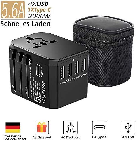 Reiseadapter Reisestecker-Luxsure Universal Travel Adapter Weltweit Steckenadapter USB Stecker Steckdose Adapter 4 USB Type C für 233 Ländern Europa UK Australien USA China