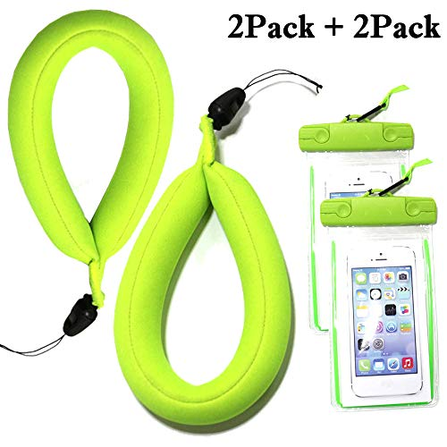 (JDHDL Waterproof Camera Float Strap with Waterproof Phone Case Universal Floating Wristband/Strap Works with G o Pro, Nikon, Canon, Sony, Pentax, Camcorders, Panasonic, Sunglass (Fluorescent Green))