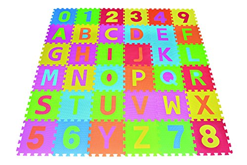 Mats Alphabet (Poco Divo 36 Tiles EVA Foam Rainbow Letters and Numbers Puzzle Play Mat)