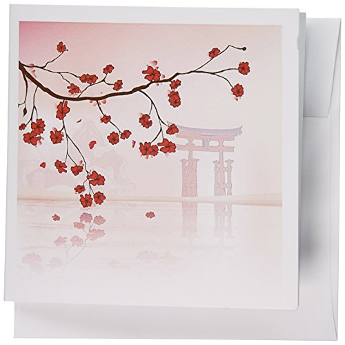3dRose Beautiful Japanese Sakura Red Cherry Blossoms Branching - Greeting Cards, 6 x 6 inches, set of 12 (gc_116168_2) - Card Japanese Birthday