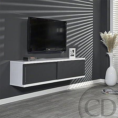 Coup de Coeur Design-Mueble para Tv de techo colgante lacada, color Gris y blanco: Amazon.es: Hogar