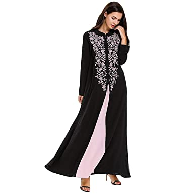 Bmeigo Vestidos de Mujer Musulmana Vestido Largo Bordado Traje ...
