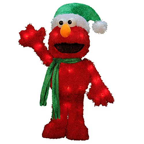 Christmas Ornaments Sesame Street - ProductWorks 18-Inch 3D Pre-Lit Sesame Street Waving Elmo Christmas Yard Decoration, 35 Lights