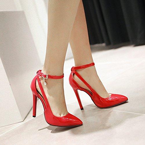 YE Damen Lack High Heels Spitze Rote Sohle Pumps mit Knöchelriemchen und Stiletto Modern Schnalle Partyschuhe/Brautschuhe Rot(11cm heels)