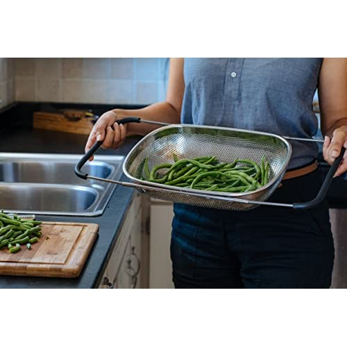 LiveFresh Over the Sink Micro-perforated Stainless Steel 4-Quart Colander with Non-Slip Handle Grips and Rubber Feet - Handles Extend to Fit Any Sink