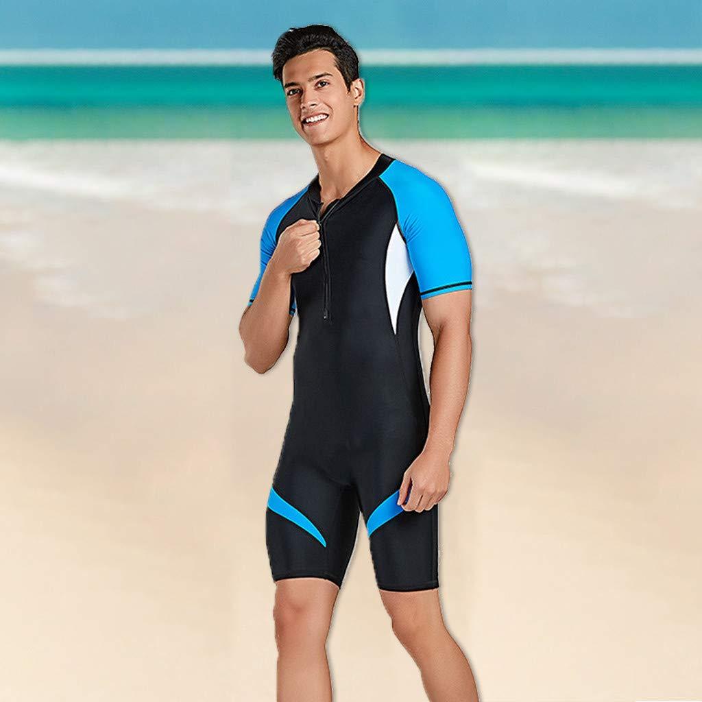 YunZyun Men's Swimwear Neoprene Back Zip Wetsuit Shorty Wetsuit Scuba Diving Suit Rash Guard Short Sleeves Swimwear (Blue, M)