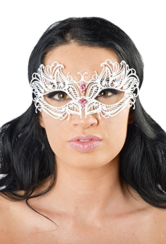 [Mars White Masquerade Mask (Pink Rhinestones; Unisex; One Size Fits Most)] (Womens Masquerade Costume Countess)