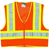 MCR Safety WCCL2OFRXL Class 2 Polyester Mesh Flame Resistant Safety Vest with 3M Scotchlite Yellow/Silver Reflective Stripe, Fluorescent Orange, X-Large